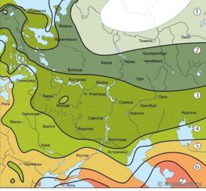 USDA-зоны в российских регионах: 1– до -530С, 2 – до -450С, 3 – до -400С, 4 – до -340С, 5 – до -290С, 6 – до -230С, 7 – до -180С.