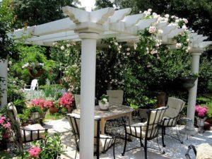 В ландшафтном дизайне клайминги используются для оформления участков в средиземноморском стиле.