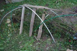 Для обеспечения воздушной прослойки над пригнутыми стеблями сооружают каркас, на который с наступлением морозов укладывают укрывной материал.