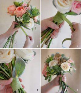 Последовательность оформления букета с помощью ленты: 1 – Сложить букет из роз располагая стебли с наклоном по спирали. Положение каждого последующего цветка можно зафиксировать с помощью узкого шнура или тесьмы. 2 - 3 – Когда укладка завершена, места фиксации декорируют широкой лентой. 4 – С помощью секатора стебли подравнивают.